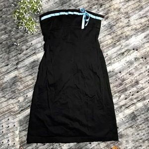 Ruth Black Strapless Dress with Blue Bow Size 12